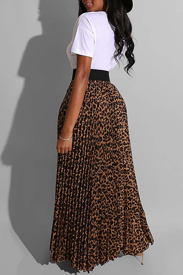 Lovely Street Leopard Print White Two-piece Skirt Set