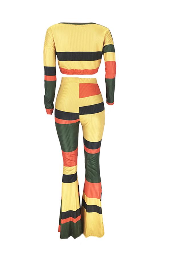 Lovely Casual Color-lump Patchwork Multicolor Two-piece Pants Set