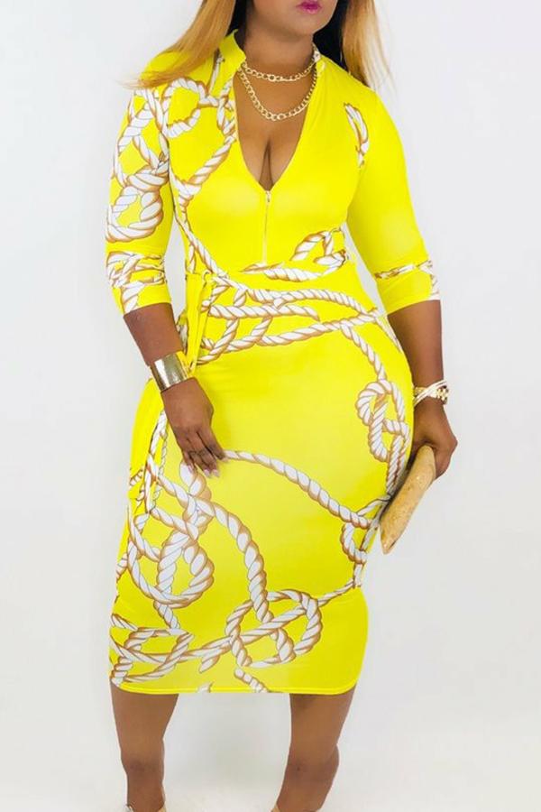 lovelywholesale / Cheap Dress Lovely Trendy V Neck Print Yellow Mid Calf Dress