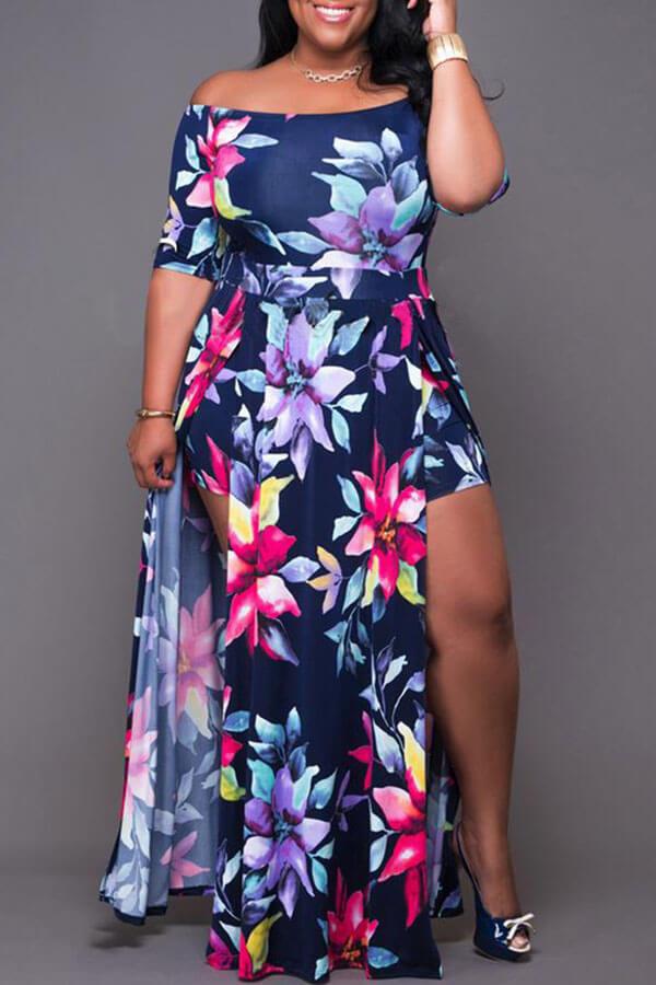 Lovely Chic Floral Print Deep Blue Ankle Length Plus Size Dress