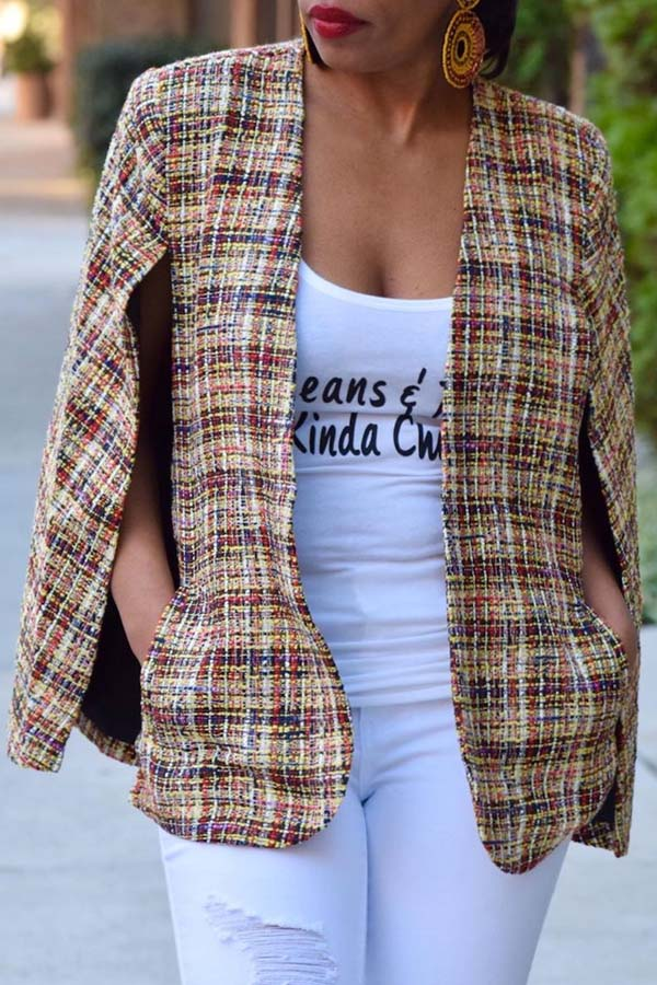 Lovely Casual Gold Print Multicolor Coat
