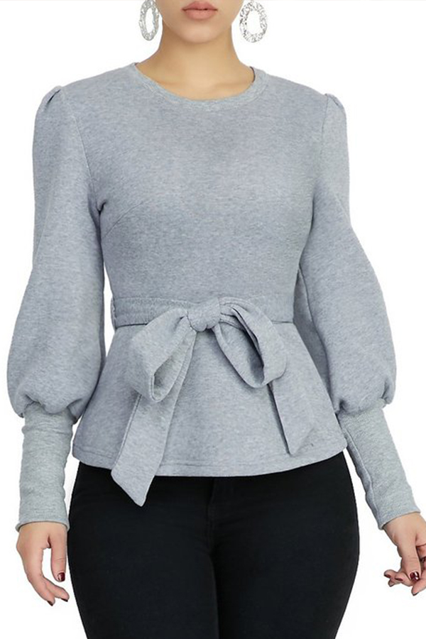 Lovely Casual Knot Design Grey Blouse