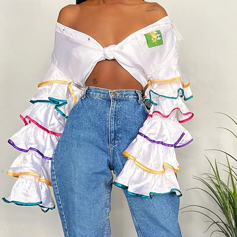 lovelywholesale / Cheap Blouses&Shirts Lovely Casual Flounce White Blouse