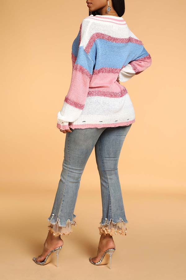 Lovely Casual Color-lump Patchwork Pink Sweater