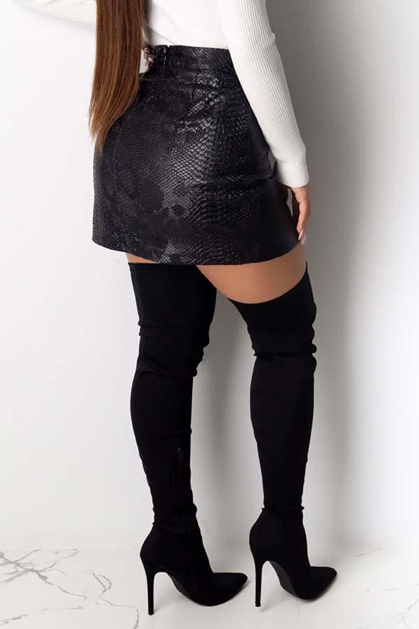 Lovely Trendy Slit Black PU Skirt