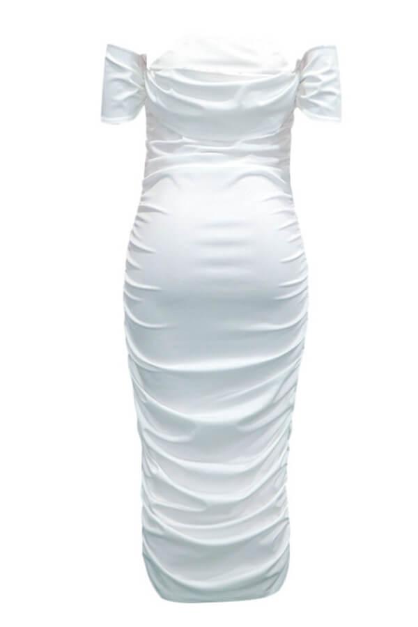 Lovely Trendy Dew Shoulder White Mid Calf Dress