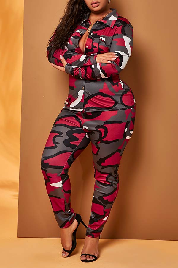 Lovely Casual Camo Red Plus Size Two-piece Pants Set