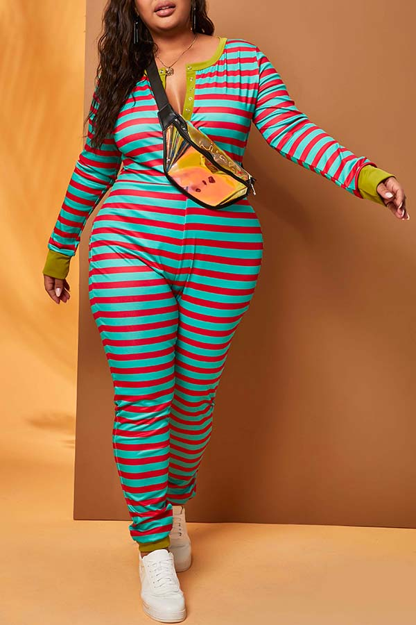 Lovely Casual Striped Green Plus Size One-piece Jumpsuit