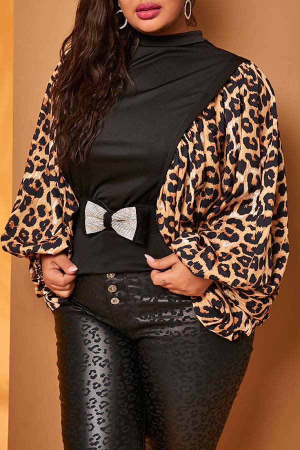 Lovely Casual Print Black Plus Size Blouse