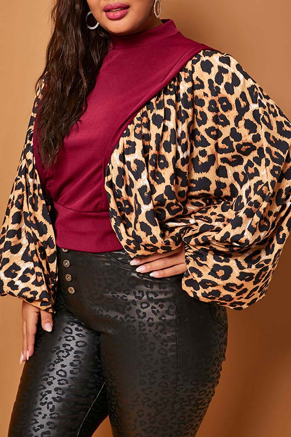 Lovely Casual Leopard Wine Red Plus Size Blouse