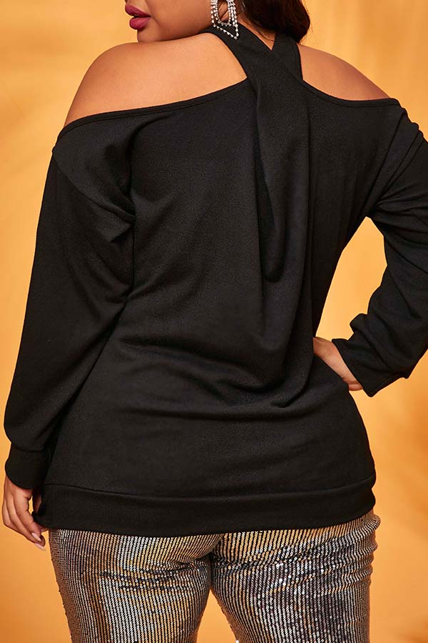 Lovely Casual Lip Print Black Plus Size Blouse