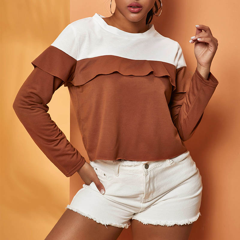 lovelywholesale / Cheap Blouses&Shirts Lovely Casual Patchwork Coffee Blouse