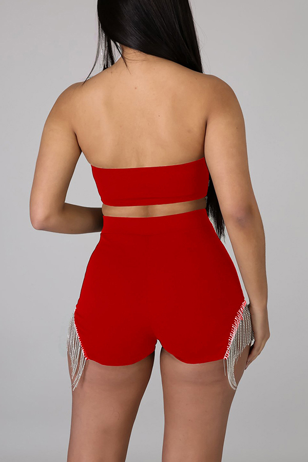 Lovely Sexy Tassel Design Red Two-piece Shorts Set
