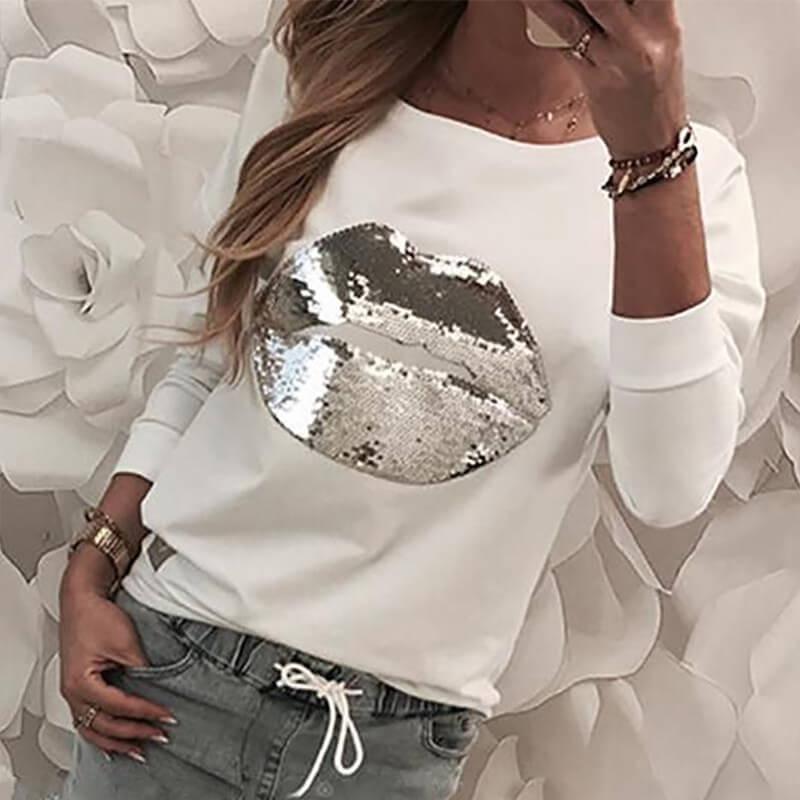 Hoodies Lovely Casual Lip White Sweatshirt Hoodie фото