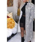 Lovely Casual Print White Long Coat