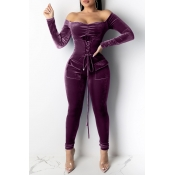 Lovely Stylish Bandage Design Purple One-piece Jum