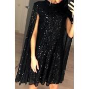 Lovely Party Cloak Design Black Knee Length Dress
