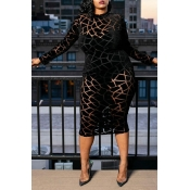 Lovely Chic Turtleneck Black Mid Calf Dress