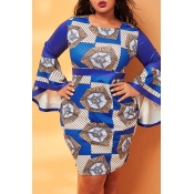 Lovely Casual Print Blue Knee Length Plus Size Dre