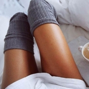 Lovely Casual Long Grey Socks