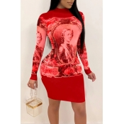Lovely Casual Patchwork Red Mini Dress
