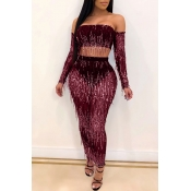 Lovely Party Tassel Design Wine Red Two-piece Skirt Set