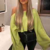 Lovely Chic Dew Shoulder Green Sweater