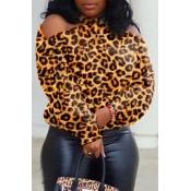 Lovely Casual Dew Shoulder Leopard Blouse