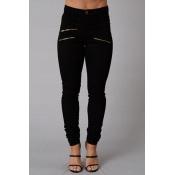 Lovely Casual Zipper Design Black Pants