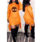 Lovely Trendy Printed Orange Mini Dress