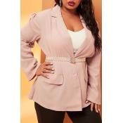 Lovely Casual V Neck Dusty Pink Plus Size Blazer