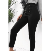 Lovely Casual Buttons Design Black Pants