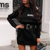 Lovely Casual Letter Black Mini Dress(Without Belt