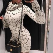 Lovely Chic Turtleneck Print White Mini Dress