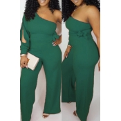 Lovely Work One Shoulder Green One-piece Jumpsuit