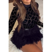 Lovely Chic Turtleneck Print Black Mini Dress