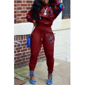 Lovely Casual Lip  Print Purplish Red Two-piece Pa