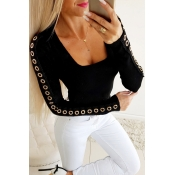 Lovely Casual Patchwork Basic Black T-shirt