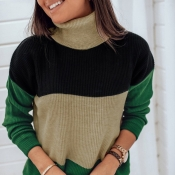 Lovely Casual Turtleneck Patchwork Green Sweater