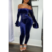 Lovely Party Dew Shoulder Deep Blue Two-piece Pant