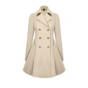 Lovely Casual Buttons Design Beige Coat