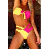 Lovely Bohemian V Neck Hollow-out Yellow Two-piece Swimsuit