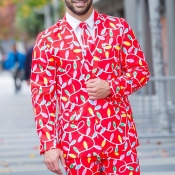 Lovely Christmas Day Print Red Formal Wear