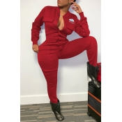 Lovely Casual Eye Print Red One-piece Jumpsuit