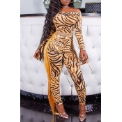 Lovely Chic Tassel Design Tiger Stripes One-piece