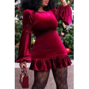 Lovely Sweet O Neck Flounce Design Wine Red Mini D