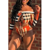 Lovely Plaid Print Multicolor Two-piece Swimsuit
