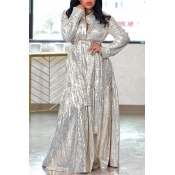 Lovely Casual Print Silver  Maxi Dress