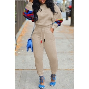 Lovely Casual Patchwork Apricot Two-piece Pants Set
