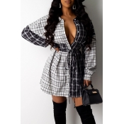 Lovely Casual Patchwork Black And White Mini Dress